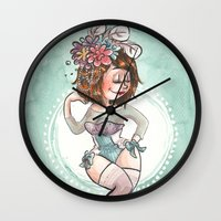 burlesque Wall Clocks featuring Burlesque by Laeti Vanille
