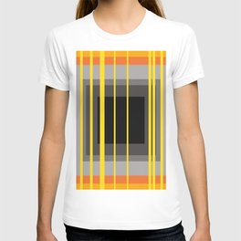 Yellow Stripes and black square pattern T-shirt