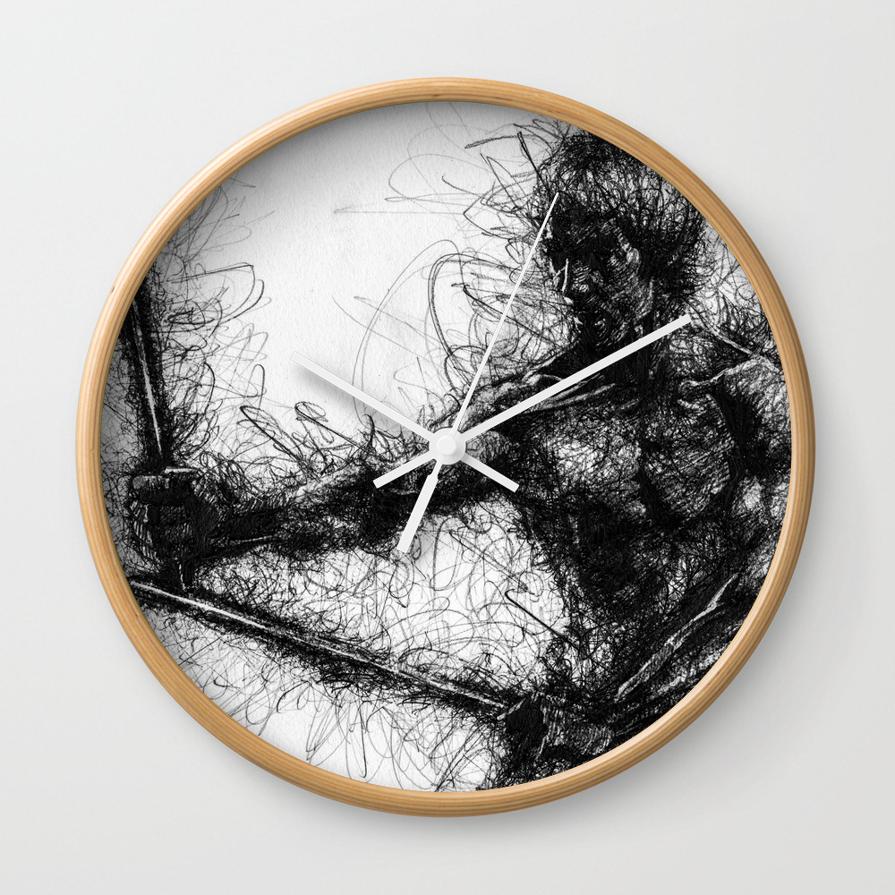 Bruce Kung Fu Master Lee, Drawing, Wall Art, Kung … Wall Clock by Juliolucas CLK8502345