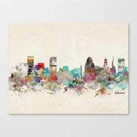 maryland Canvas Prints featuring baltimore maryland by bri.buckley