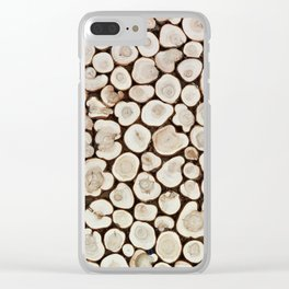 Background of wooden slices tree Clear iPhone Case