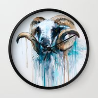 sheep Wall Clocks featuring Sheep by Slaveika Aladjova