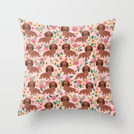 Long Haired Dachshund red coat pet friendly must have gifts for home dog lover Throw Pillow