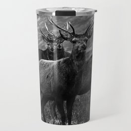 The four stags on the loch b/w Travel Mug