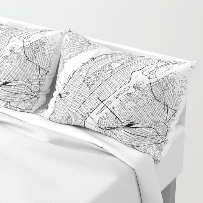 New York City White Map Pillow Sham