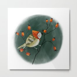 Forest Bird With a Rose Hip Metal Print