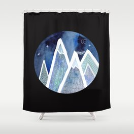 Sleeping on Top of the World with black background Shower Curtain