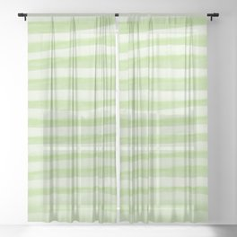 Light Green Stripes Pattern Sheer Curtain