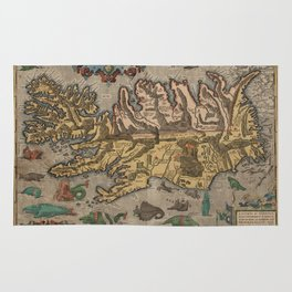 Antique Map Of Iceland 1603 Rug
