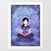 meditation Art Prints featuring Meditation by Art, Love & Joy Designs