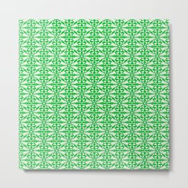 Granny Apple Green Cool Mint Green Diamonds Within Diamonds Pattern Southwestern Design Pattern Metal Print