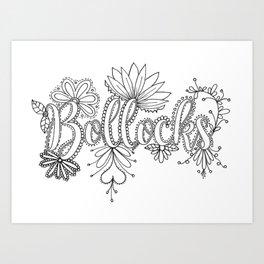 Bollocks Adult Coloring Design Art Print