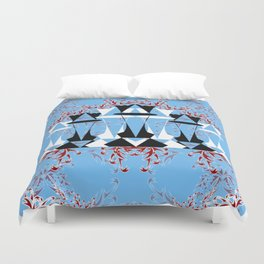 Black and White Queens in Bloom (Sky Blue) Duvet Cover