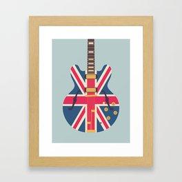 Union Jack Flag Guitar - Slate Framed Art Print