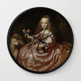 Dirck van Santvoort- Portrait of Clara Alewijn Wall Clock