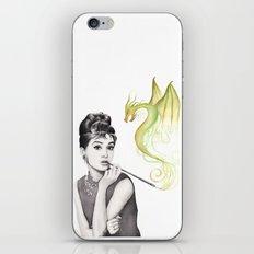 Audrey Hepburn Smoking and Dragon iPhone & iPod Skin