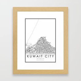 Kuwait City Map Kuwait White and Black Framed Art Print