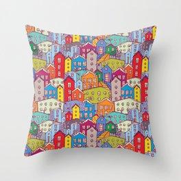 Cityscape Sketch Throw Pillow