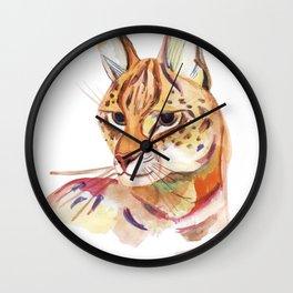 Serval wild cat watercolor Wall Clock