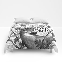 Oh Deer B&W Comforters