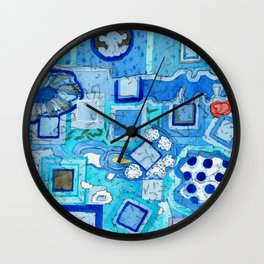 Blue Room with Blue Frames Wall Clock
