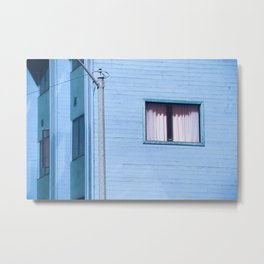vintage blue wood building with window and electric pole Metal Print