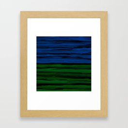Emerald Green, Slate Blue, and Black Onyx Spilt Framed Art Print