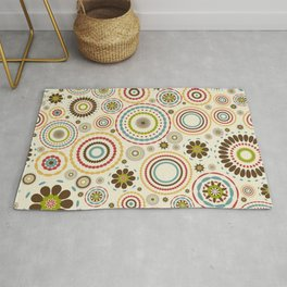 Vintage floral background with round flowers Rug