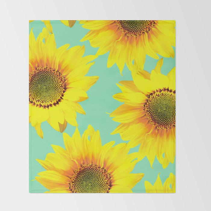 Sunflowers on a pastel green backgrond #decor #society6 #buyart Throw Blanket