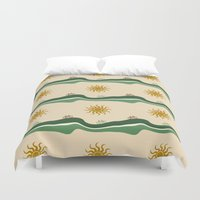 bikes Duvet Covers featuring Bikes Pattern by Christina Rollo