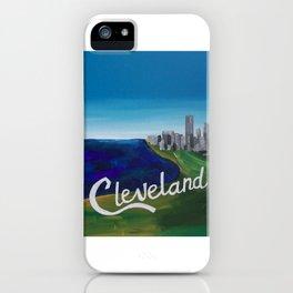 Cleveland CLE Ohio Lake Erie Skyline Painting iPhone Case