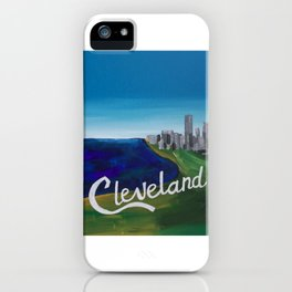 Cleveland CLE Ohio Lake Erie Skyline Painting iPhone Case