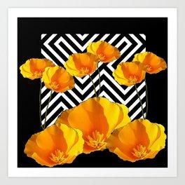BLACK & WHITE CALIFORNIA YELLOW POPPIES ART Art Print