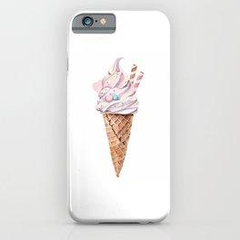 Watercolor ice cream in a cone iPhone Case