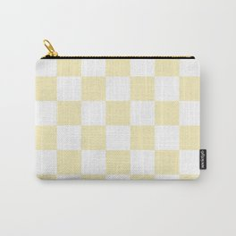Checkered - White and Blond Yellow Carry-All Pouch