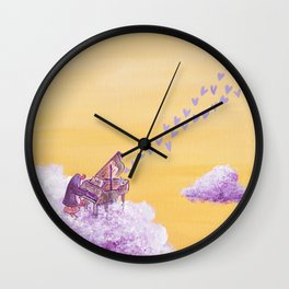 Penguin Playing A Song of Love on Piano Wall Clock