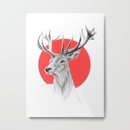 Deer | red Metal Print