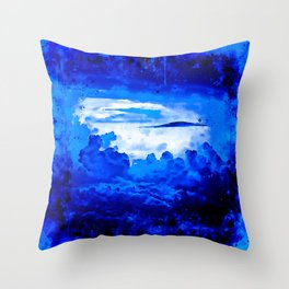cloudy sky blue turquoise splatter watercolor Throw Pillow
