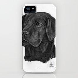 black Labrador retriever dog original art print iPhone Case