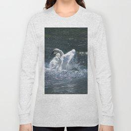 Swan's Lake - Preening Trumpeter Swan Long Sleeve T-shirt