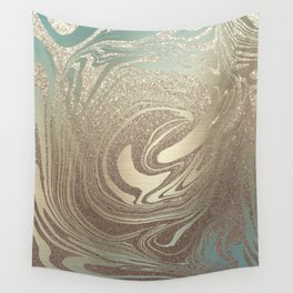 Mermaid Gold Wave Wall Tapestry