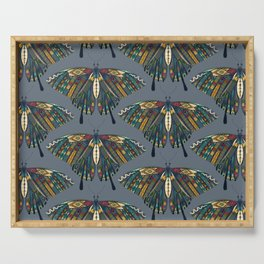 swallowtail butterfly indigo Serving Tray