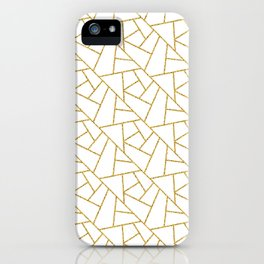 Gold and White Abstract Geometric Glitter Pattern iPhone Case