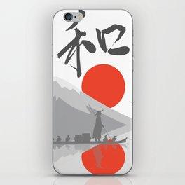Japan Fisher Boat Sun Rising Water Mountain Landscape Gift iPhone Skin
