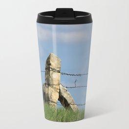 Kansas Corner Limestone Post with Blue Sky Travel Mug