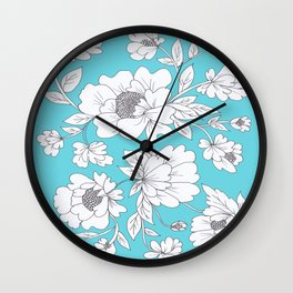 Floral in Turquoise Wall Clock