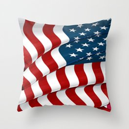 WAVY AMERICAN FLAG JULY 4TH ART Throw Pillow