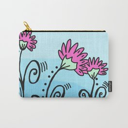 Three Spring Flowers - Blue Carry-All Pouch