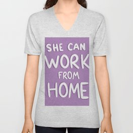 She Can Work From Home (Purple) Unisex V-Neck