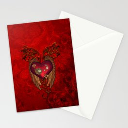 Wondeful heart with clocks and gears on red vintage background Stationery Cards